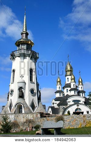 Belfry near the Orthodox church built in a modern style.Church in the Ukrainian village. Buki Kiev region Ukraine.