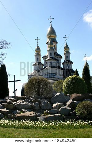 Church in the Ukrainian village Buky Kiev region Ukraine