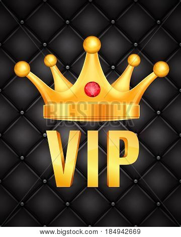 VIP abstract quilted background. Golden letters with crown. EPS10 vector
