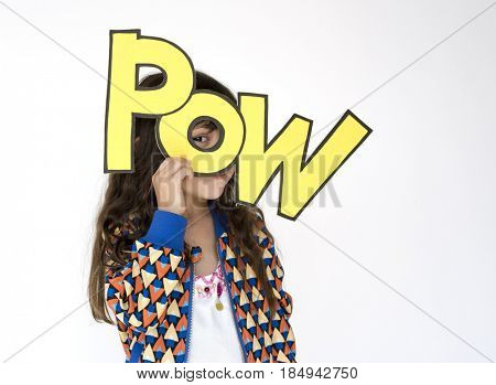 Little Girl Smiling Happiness Holding Comic Word Pow Portrait