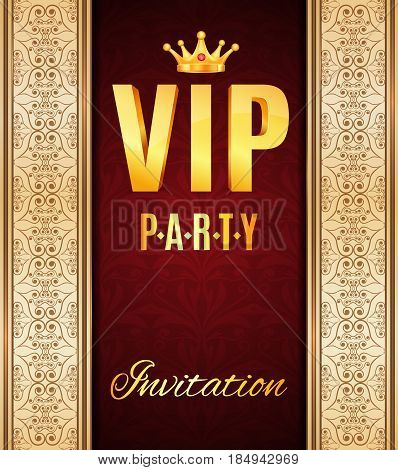 VIP elegant card. Vip party invitation. Vintage background. EPS10 vector