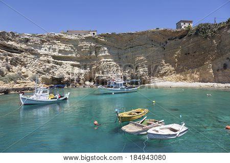 mezakos, greece, 15 april 2017: harbor of mezakos with fishing boats on mani in greek peloponnese