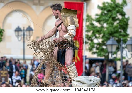 ALBA IULIA ROMANIA - APRIL 30 2017: Roman gladiator make one fight demonstration at APULUM ROMAN FESTIVAL organized by the City Hall.