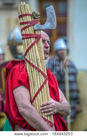 ALBA IULIA ROMANIA - APRIL 29 2017: Carrier of Roman antic symbols in one demonstration at APULUM ROMAN FESTIVAL organized by the City Hall.