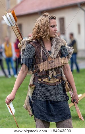 ALBA IULIA ROMANIA - APRIL 29 2017: The woman archer slave dac in one demonstration at APULUM ROMAN FESTIVAL organized by the City Hall.