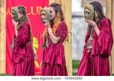ALBA IULIA ROMANIA - APRIL 29 2017: Young Roman girls in one antical theatrical demonstration at APULUM ROMAN FESTIVAL organized by the City Hall.