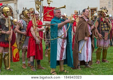 ALBA IULIA ROMANIA - APRIL 29 2017: Roman soldiers in battle costume and musicants present at APULUM ROMAN FESTIVAL organized by the City Hall.