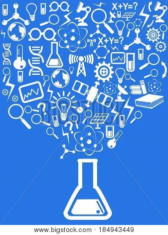 the blue background of science elements design