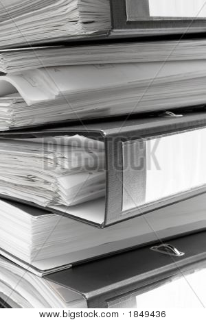Stacked Black File Folders