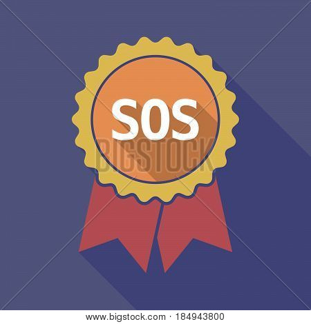 Long Shadow Badge With    The Text Sos