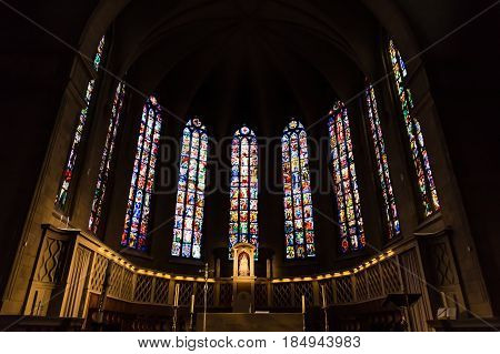 Luxembourg, Luxembourg - April 28, 2017: Interior, Inside Of Notre-dame Cathedral In Luxembourg A Be