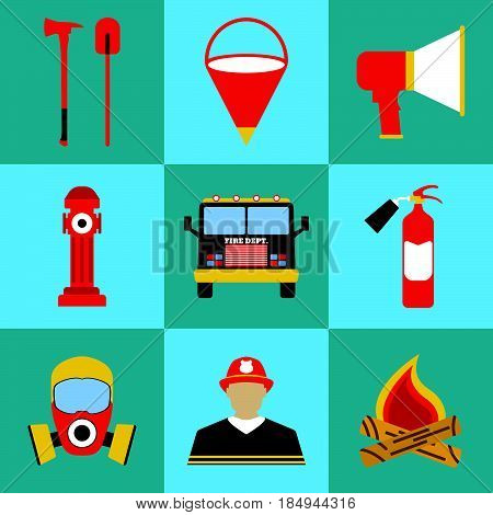 Firefighter Icon Set. Elements Of The Fire Departament Equipment Icons. Vector Illustration