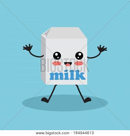 Colorful cartoon character with milk. Cute kawaii drink character on blue background.