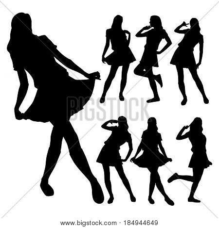 Slim girls in skirts posing in various poses. Beautiful woman in a merry mood. Silhouette anime girl.