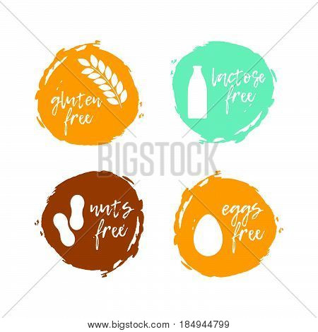 Set Of Food Labels - Allergens. Food Intolerance Symbols Collection. Vector Illustration.