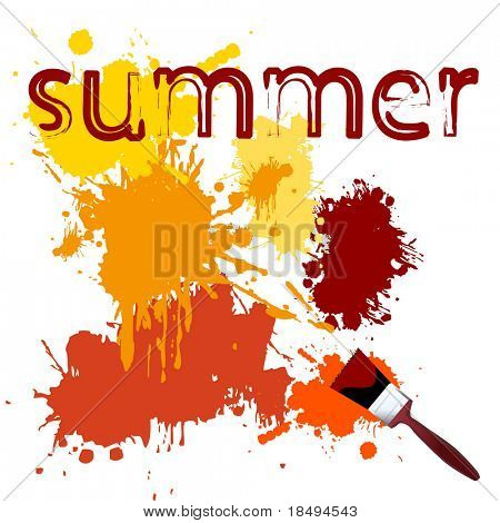 Vector - Colorful paint on a white canvas with a paintbrush. Concept: Summer