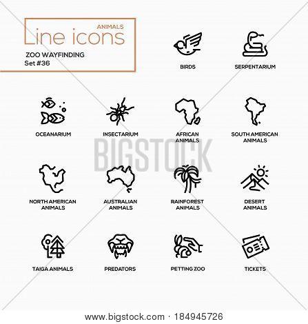 Zoo wayfinding - modern vector single line icons set. Bird, serpentarium, oceanarium, insenctarium, africa, south, north america, australia, rainforest, desert, taiga, predator, petting zoo, ticket