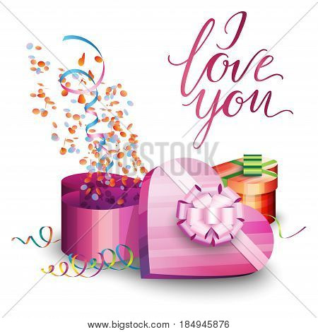 Illustration of a gift box serpentine and inscription on a white background