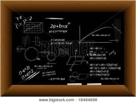 Vector - Black board in a wooden frame with two pieces of chalk with technical drawings.