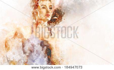 girl in sport on the sunset background. illustration