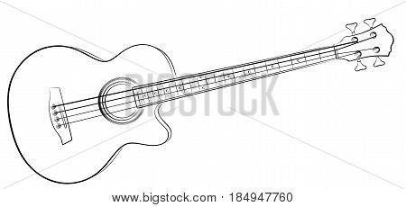 The sketch of classical variety Bass Guitar.