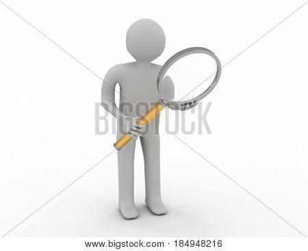 3d man human search magnifying glass lens seek . rendered illustrtion