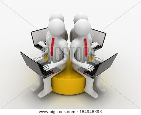 3d man with laptop sitting on a yellow disk . rendered illustrtion