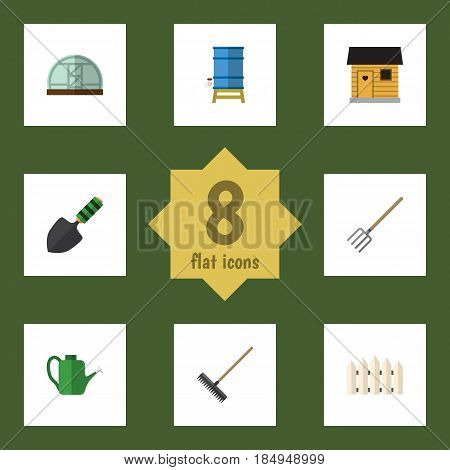 Flat Farm Set Of Trowel, Wooden Barrier, Hothouse And Other Vector Objects. Also Includes Tank, Hothouse, Water Elements.