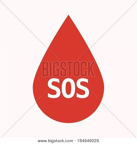 Isolated Blood Drop With    The Text Sos