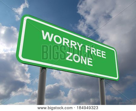 road sign worry free zone . rendered illustration