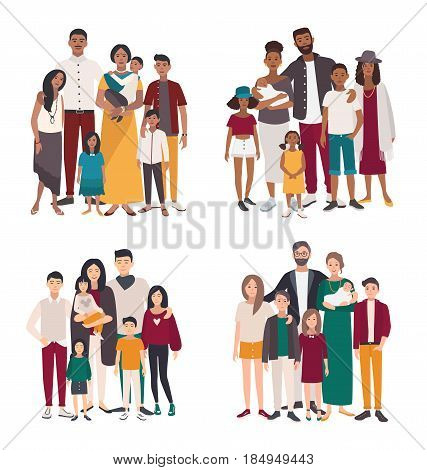 Set of large family portrait. Different nationalities african, indian, european, asian mother, father and five children. Happy people with relatives. Colorful flat vector illustration
