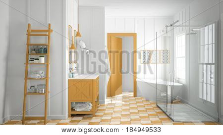 Scandinavian minimalist white and orange bathroom shower bathtub and decors classic vintage interior design, 3d illustration