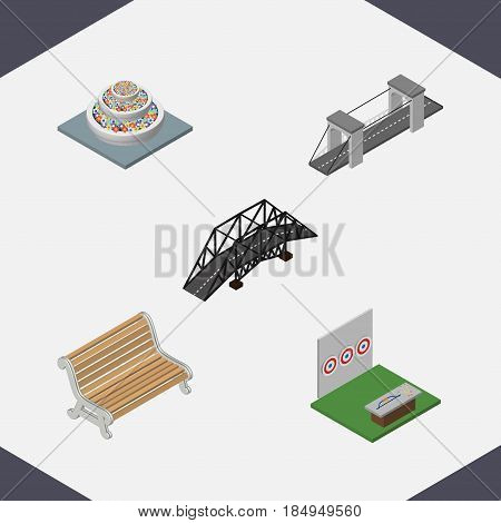 Isometric Urban Set Of Highway, Plants, Aiming Game And Other Vector Objects. Also Includes Bench, Game, Highway Elements.