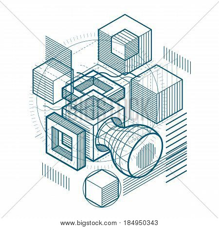 Abstract Background With Isometric Elements, Vector Linear Art With Lines And Shapes. Cubes, Hexagon