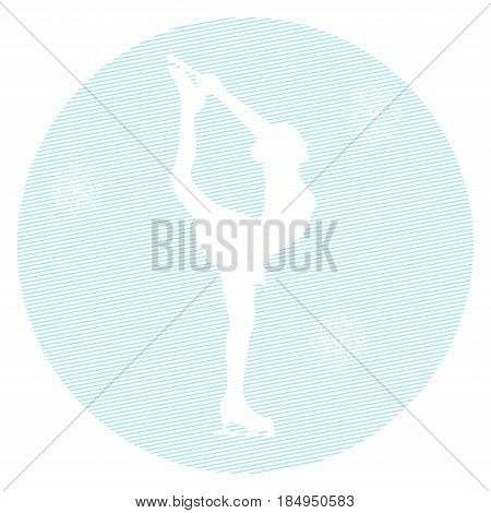 Silhouette ice skater on a white background