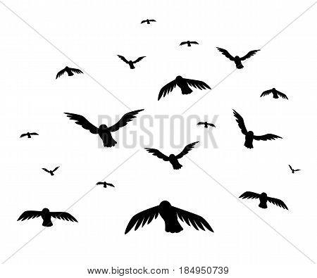 Vector Illustration A Flock Of Flying Birds. Starlings