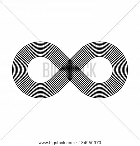 Infinity symbol icon. Representing the concept of infinite, limitless and endless things. Simple multiline vector design element on white background.