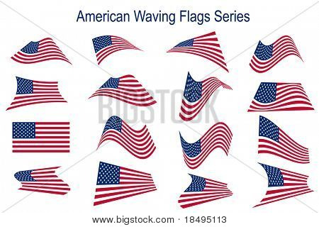 Vector - Many American USA flags waving in different styles for banner or icon use.