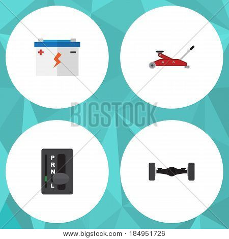 Flat Service Set Of Automatic Transmission, Lifting, Accumulator And Other Vector Objects. Also Includes Battery, Car, Automobile Elements.