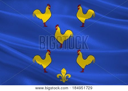 Flag of Yssingeaux is a commune and sous-prefecture in the Haute-Loire department in south-central France. 3D illustration