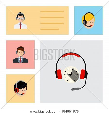Flat Hotline Set Of Hotline, Headphone, Call Center And Other Vector Objects. Also Includes Headphone, Center, Call Elements.