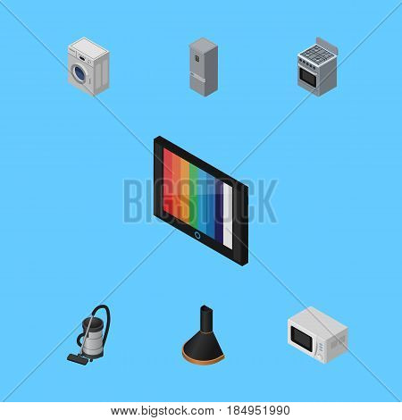 Isometric Device Set Of Laundry, Stove, Kitchen Fridge And Other Vector Objects. Also Includes Cleaner, Vac, Refrigerator Elements.