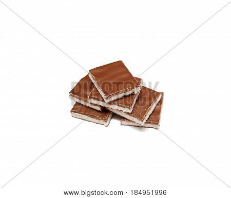 Pieces Of Milk Chocolate With Nougat. Vanilla Ice Cream With Milk Chocolate. Sweetness. Dessert.