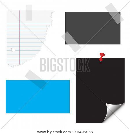 Vector - Cards, ripped paper, adhesive tape and pin. Stationery set.