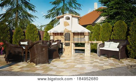 Barbecue gazebo luxury family house with landscaping on the backyard and large green lawn. 3d rendering