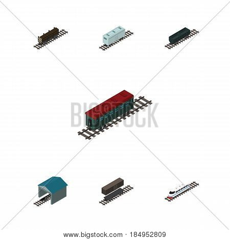 Isometric Railway Set Of Delivery Tank, Railroad Carriage, Lumber Shipping And Other Vector Objects. Also Includes Underground, Carriage, Depot Elements.
