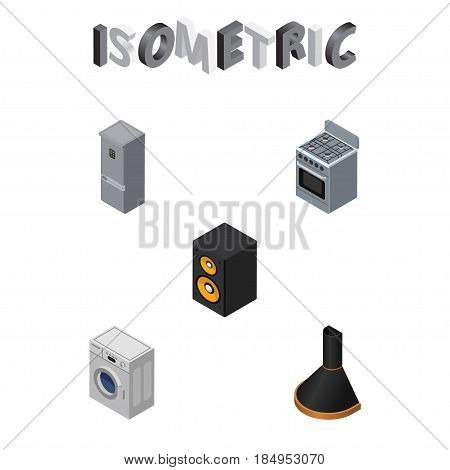 Isometric Appliance Set Of Stove, Laundry, Kitchen Fridge And Other Vector Objects. Also Includes Box, Fridge, Washing Elements.