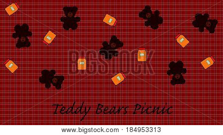 Teddy Bears Picnic illustration with Honey and Blanket Background