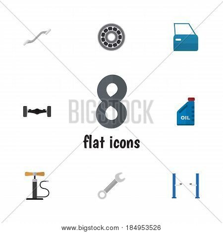 Flat Auto Set Of Spanner, Coupler, Petrol And Other Vector Objects. Also Includes Suspension, Lifting, Door Elements.