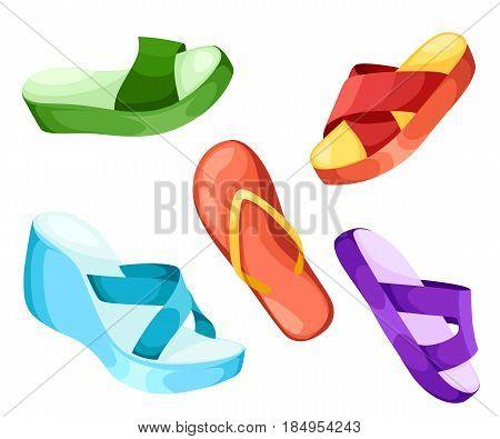 Beach Slippers Icon Vector Illustration Beach Slippers Icon Isolated. Beach Slippers Summer Symbol F